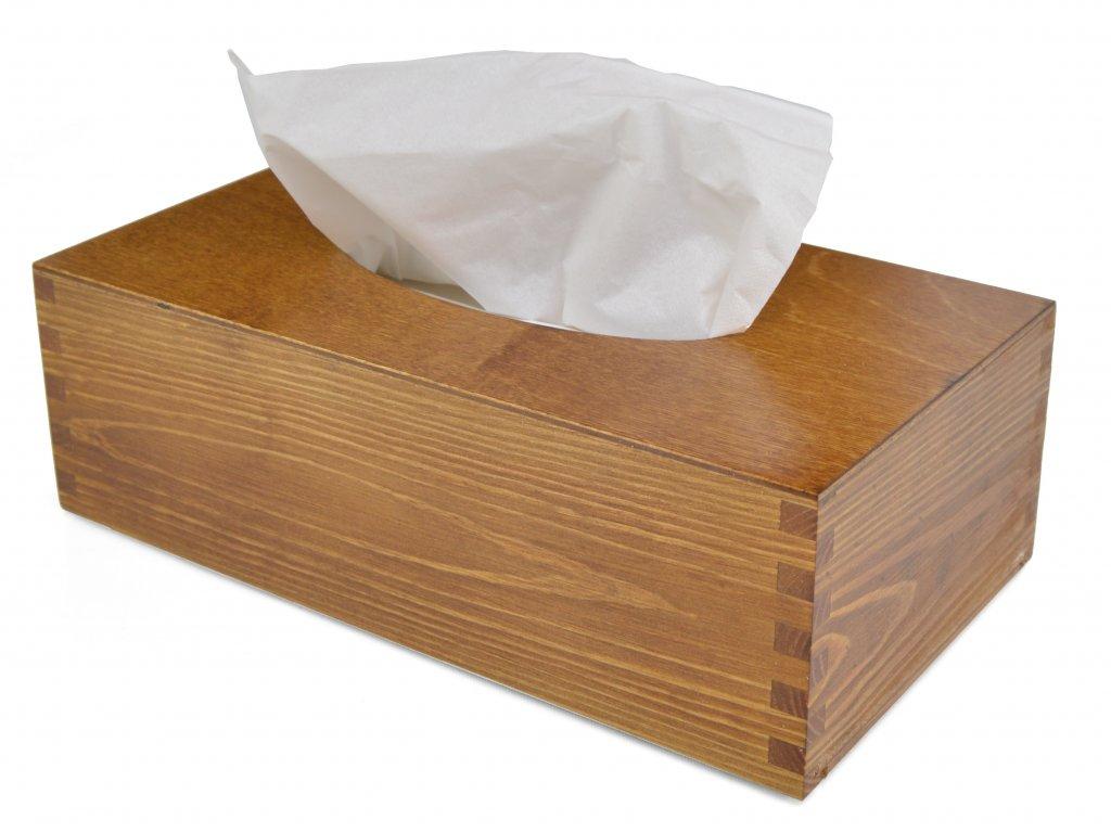 Dřevěná krabička na papírové kapesníky, barva dub s výsuvným dnem