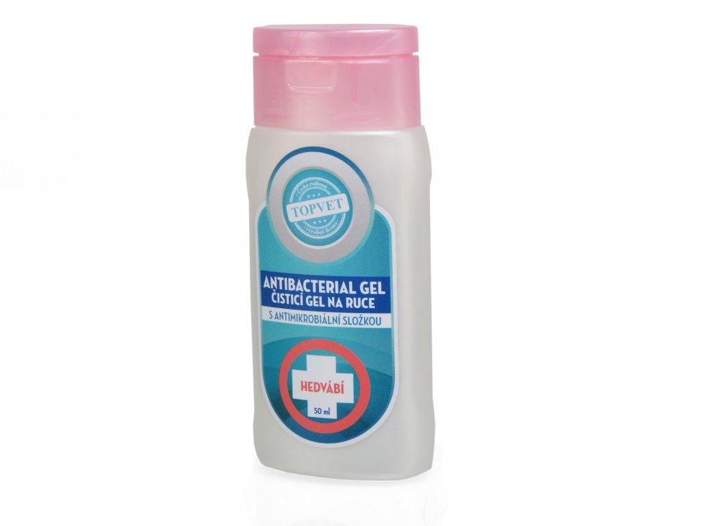 Antibakteriální gel s 62% alkoholu - Čistící gel na ruce s antimikrobiální složkou. 50 ml. Jemná vůně hedvábí. Vyrobeno v ČR!