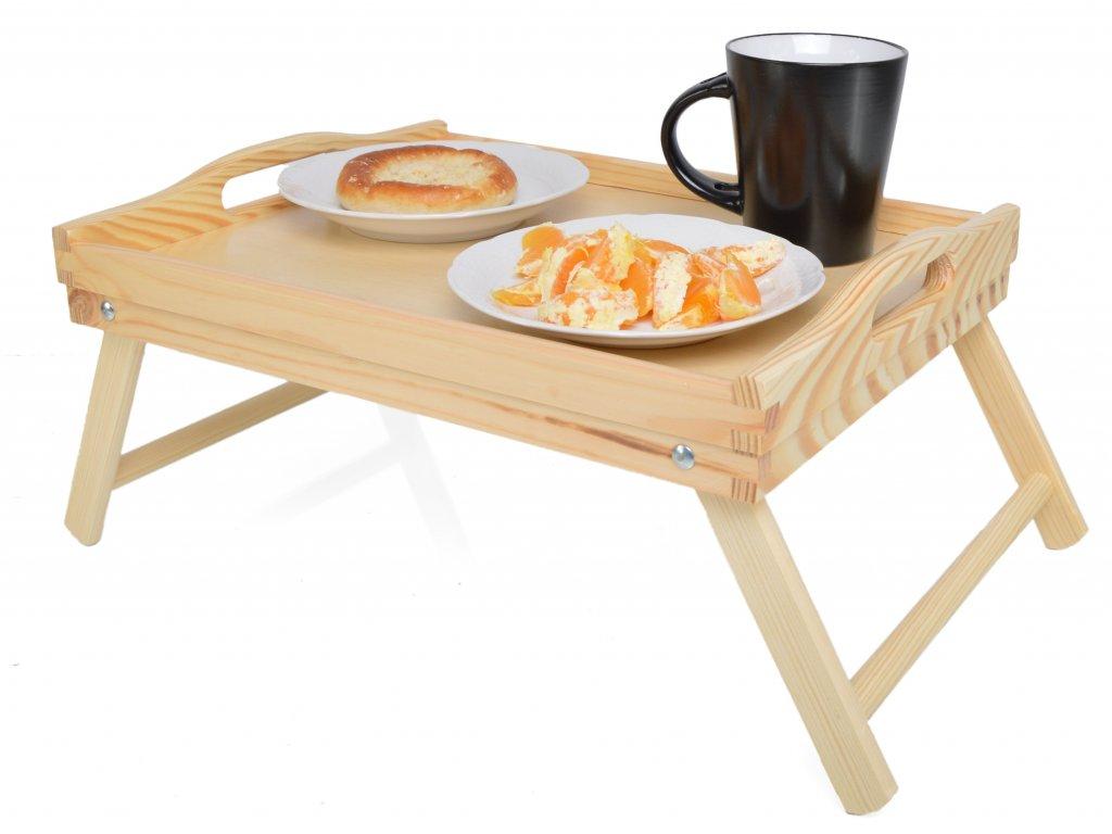 Dřevěný snídaňový podnos do postele se sklápějícími nožkami 40x30 cm