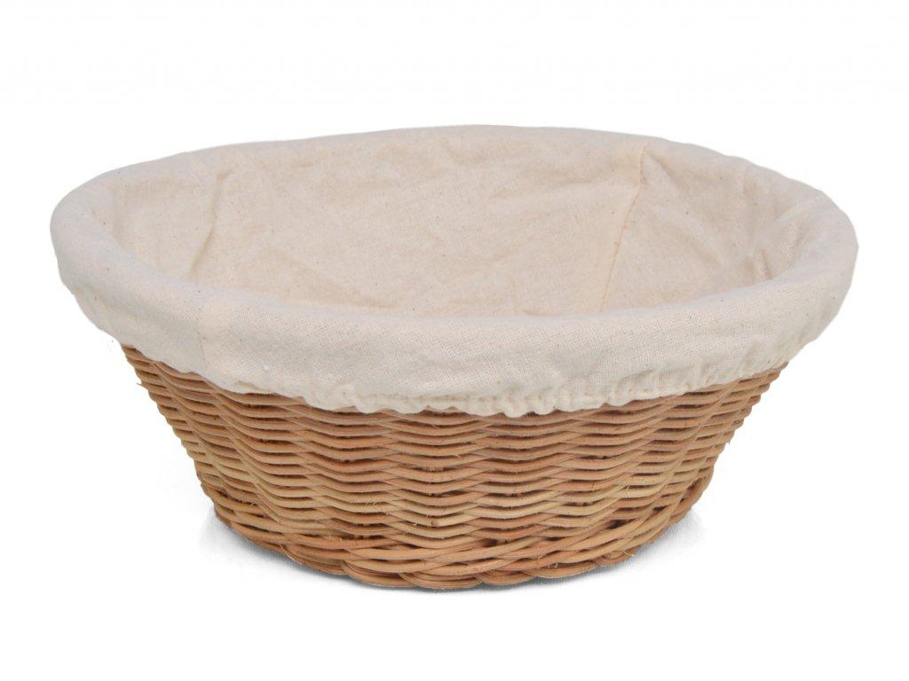 Ratanová ošatka na pečivo kulatá s bílou látkou - průměr 22 cm