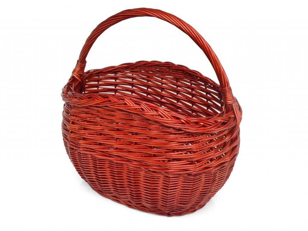 Červený nákupní košík Květa, oválný