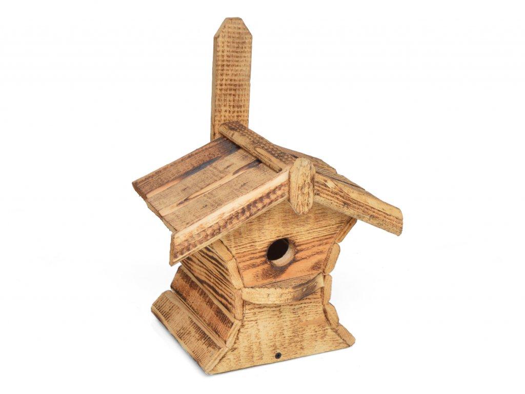 Dřevěná ptačí budka z opalovaného dřeva