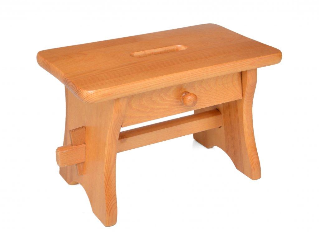 Dřevěná stolička se šuplíkem, nátěr pinie