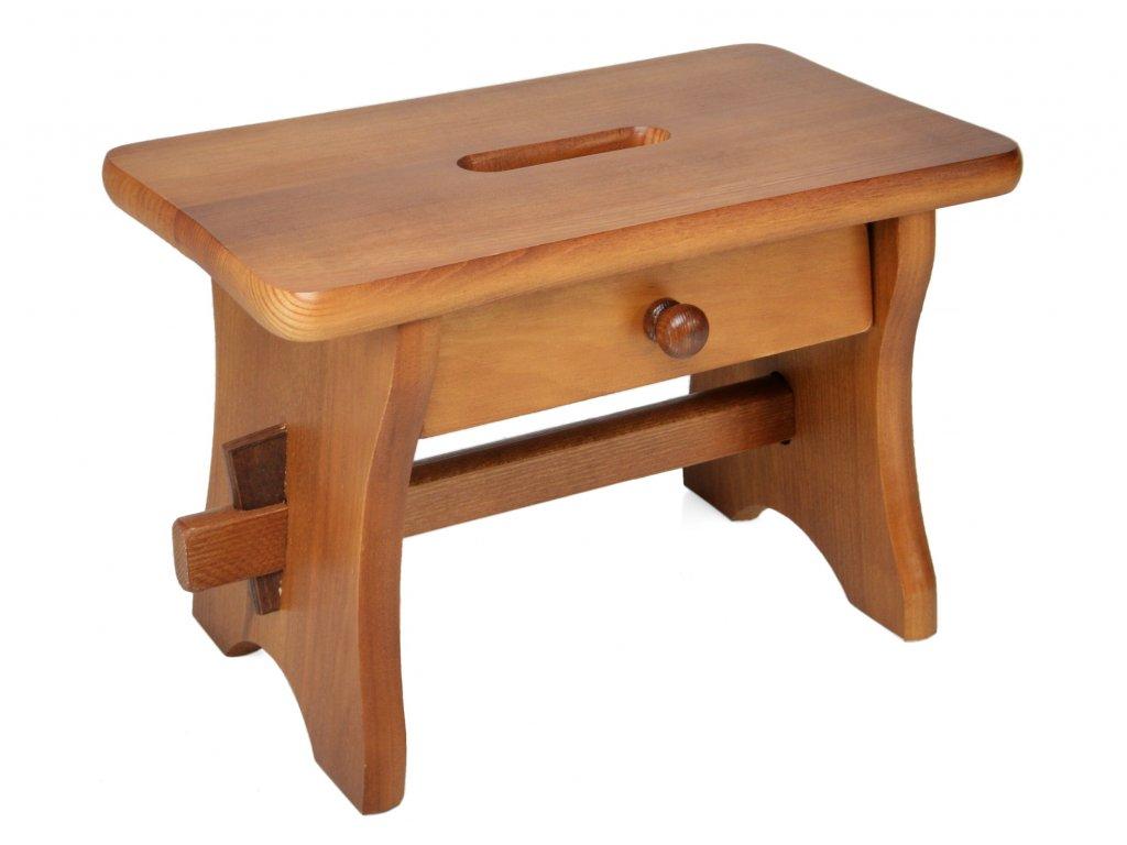 Dřevěná stolička se šuplíkem, nátěr dub