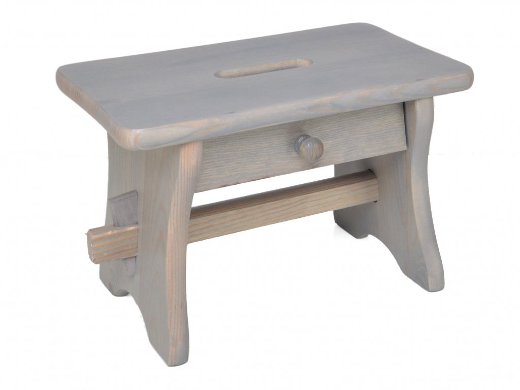 Dřevěná stolička se šuplíkem, nátěr šedá patina