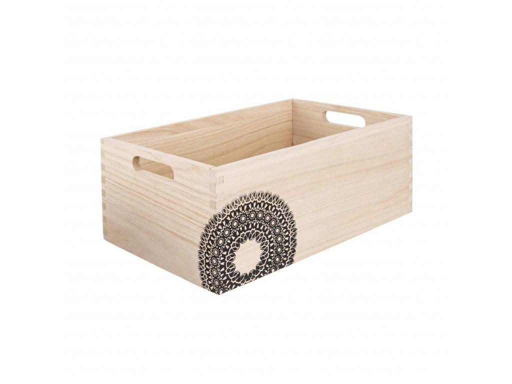 Dřevěná bedýnka MANDALA - 26 x 16 x 11 cm