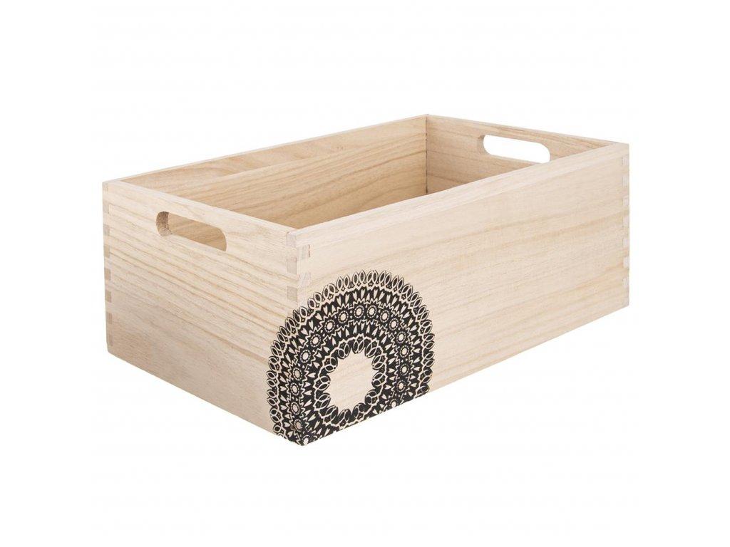 Dřevěná bedýnka MANDALA - 31 x 21 x 13 cm
