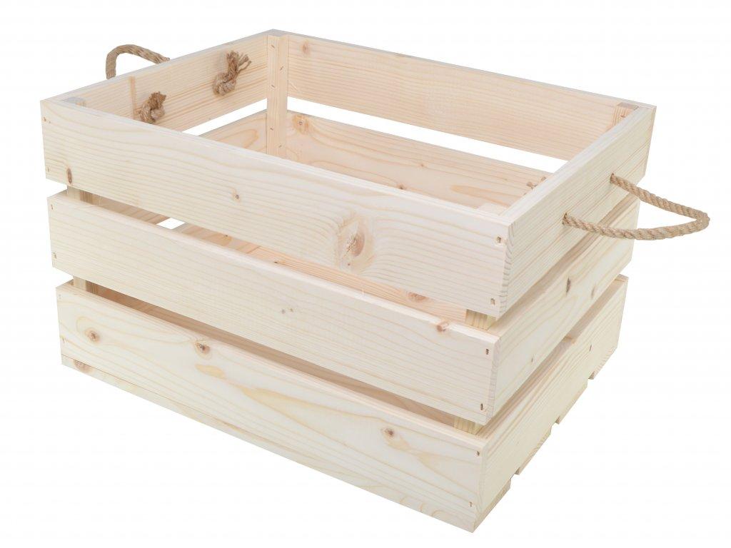 Dřevěná bedýnka s provazy 50x39x30 cm - přírodní