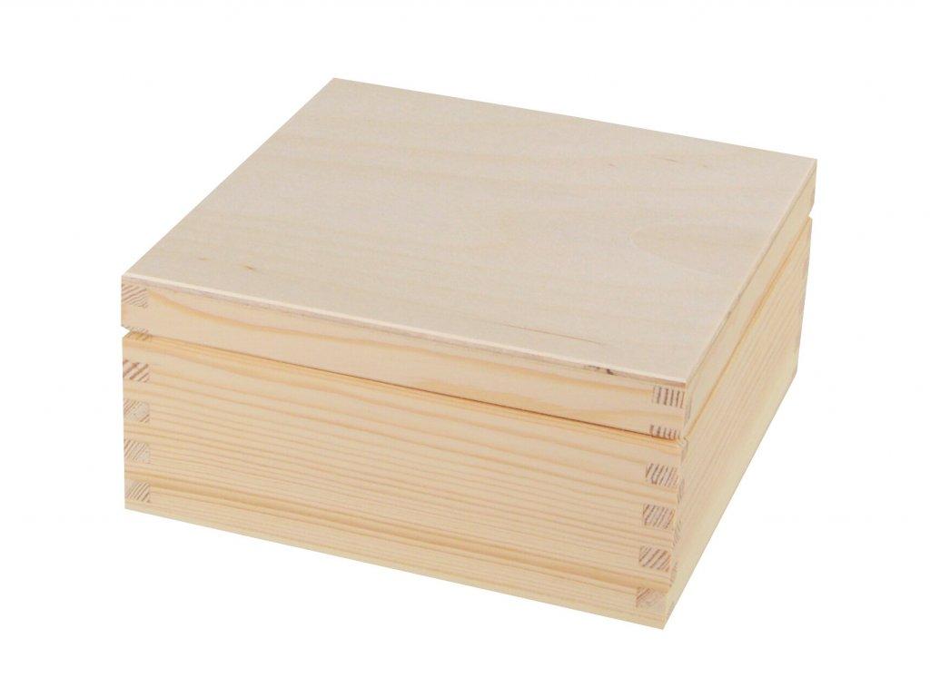 Dřevěná krabička s víkem - 15 x 15 x 7 cm