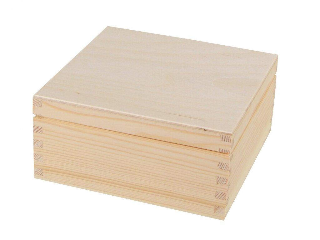Dřevěná krabička s víkem - 17,5 x 17,5 x 8 cm