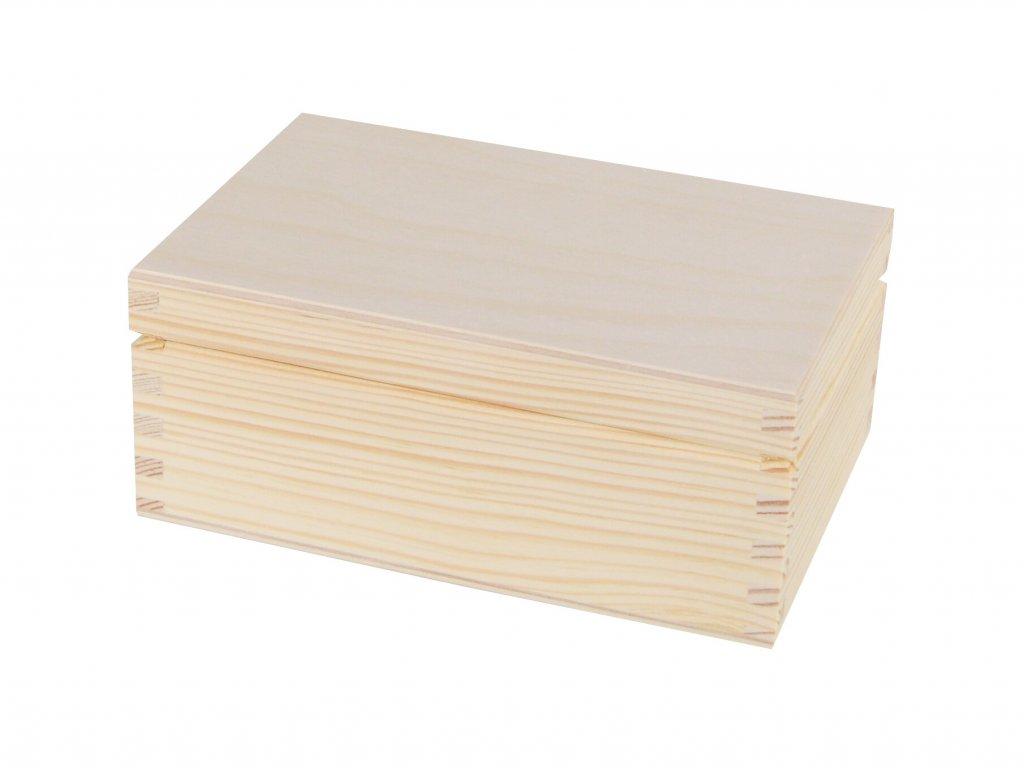 Dřevěná krabička s víkem - 16 x 11,5 x 7 cm