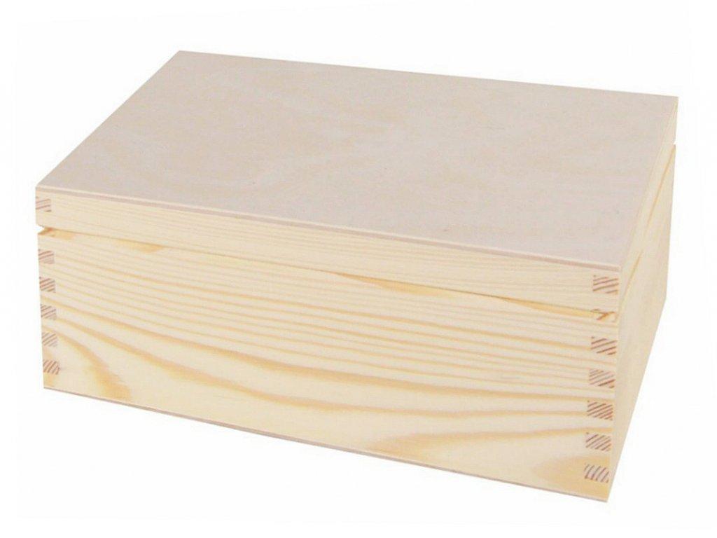 Dřevěná krabička s víkem - 22 x 16,5 x 9 cm