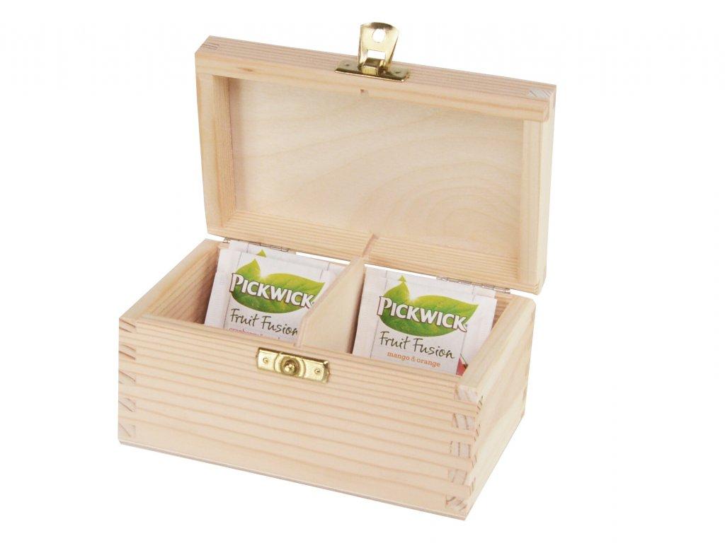 Dřevěná krabička na čaj s dvěma přihrádkami a zapínáním II.