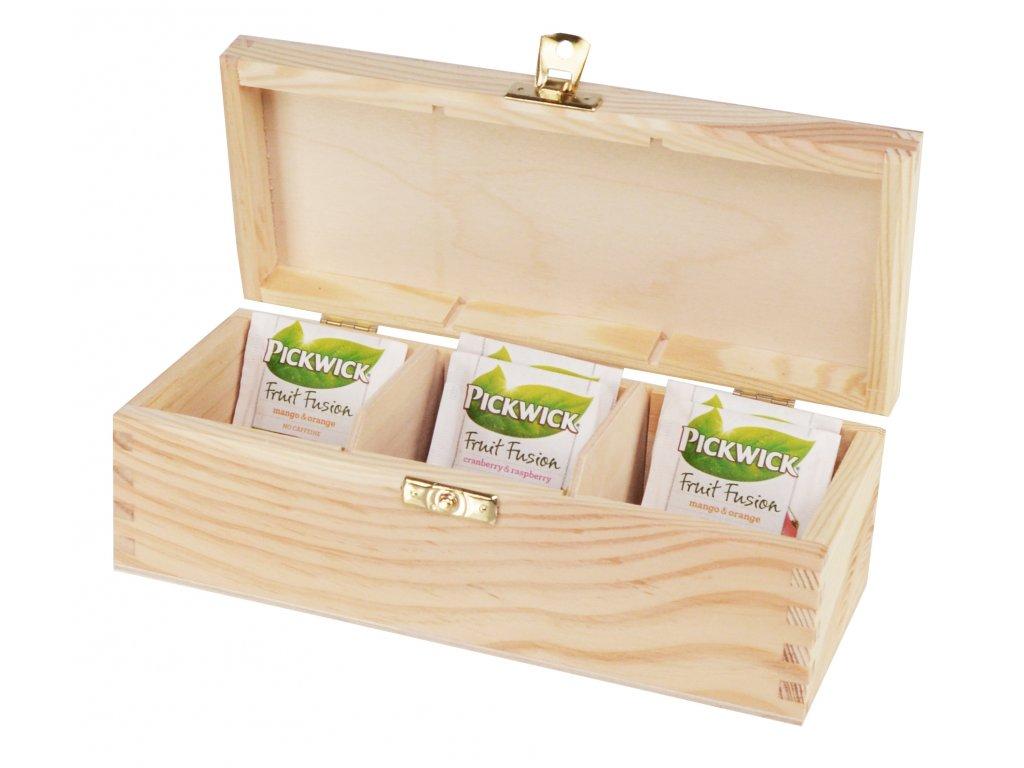 Dřevěná krabička na čaj s třemi přihrádkami a zapínáním II.
