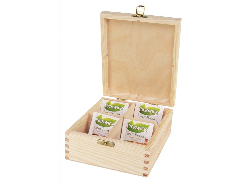 Dřevěná krabička na čaj s čtyřmi přihrádkami a zapínáním II.