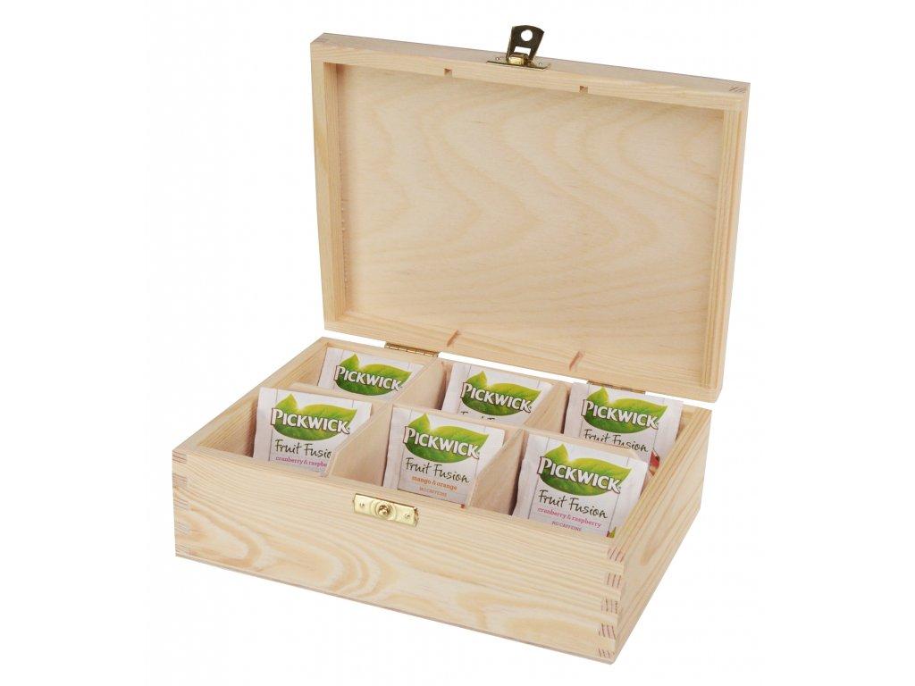 Dřevěná krabička na čaj s šesti přihrádkami a zapínáním II.