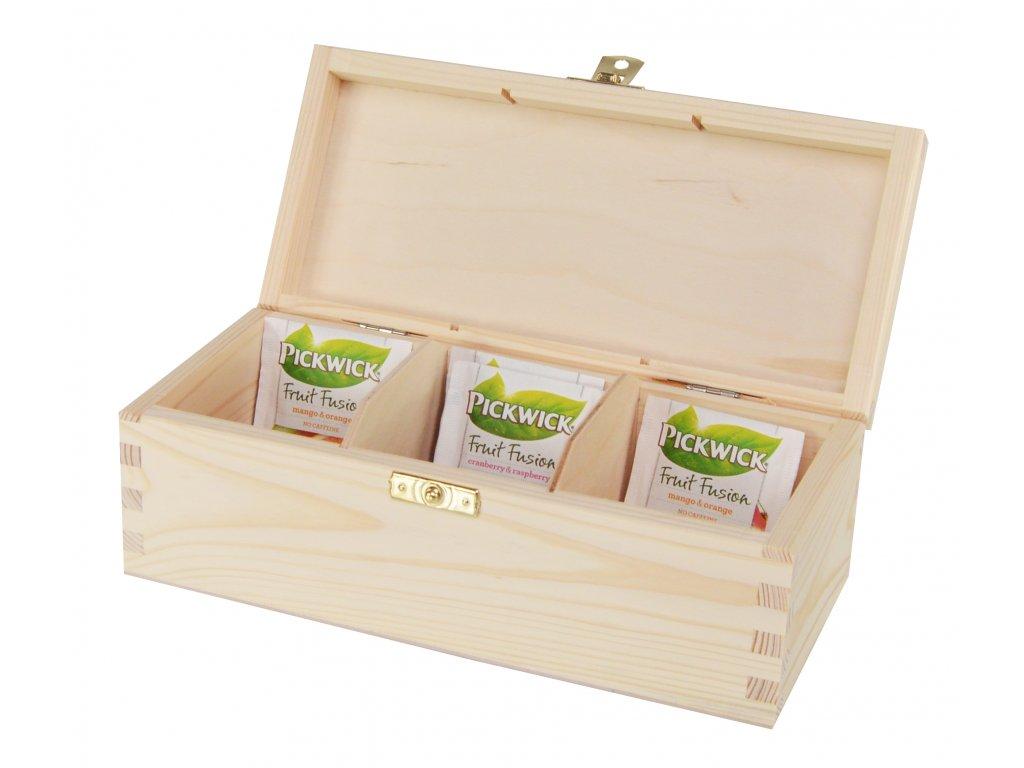 Dřevěná krabička na čaj s třemi přihrádkami a zapínáním