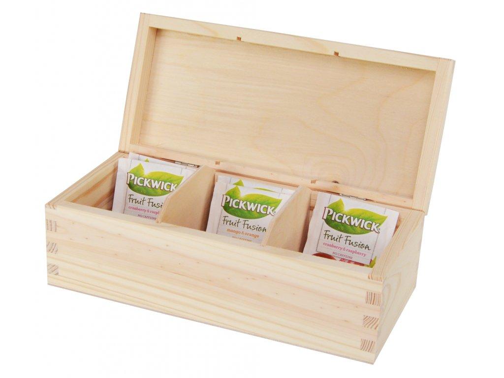 Dřevěná krabička na čaj s třemi přihrádkami