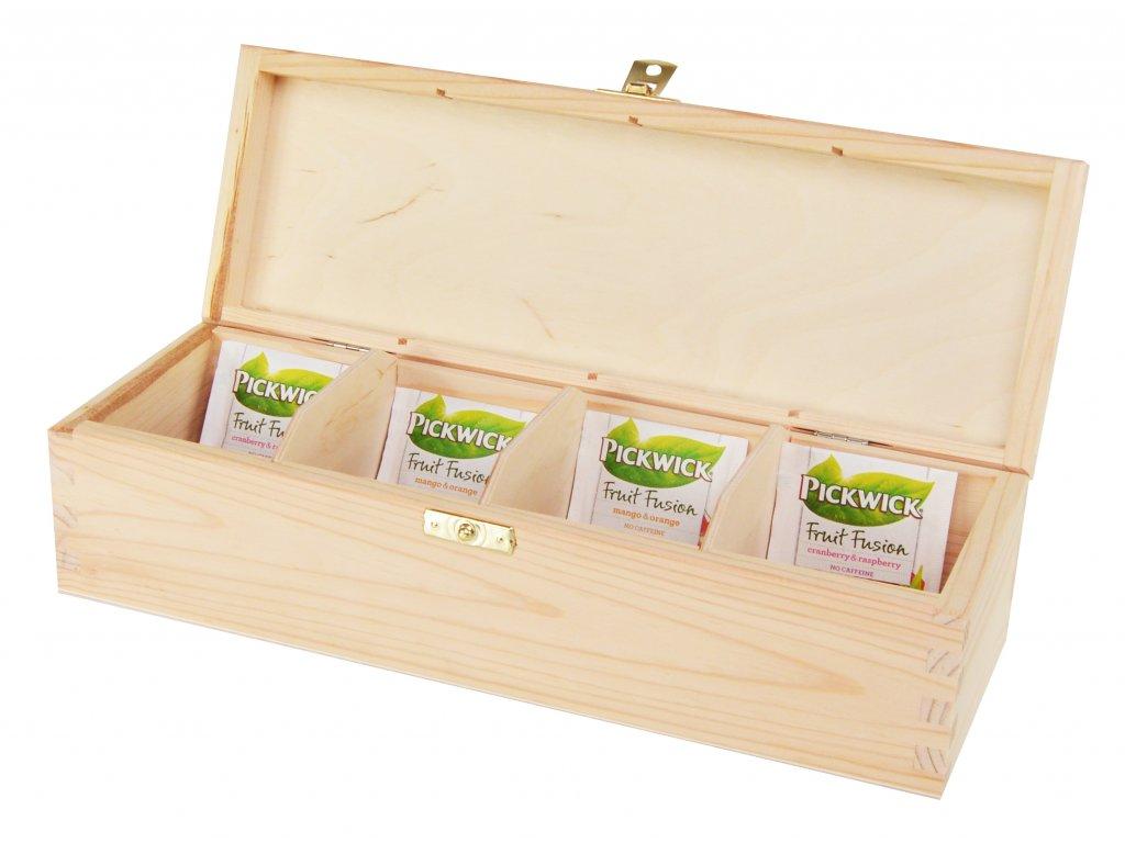 Dřevěná krabička na čaj s čtyřmi přihrádkami a zapínáním - podlouhlá