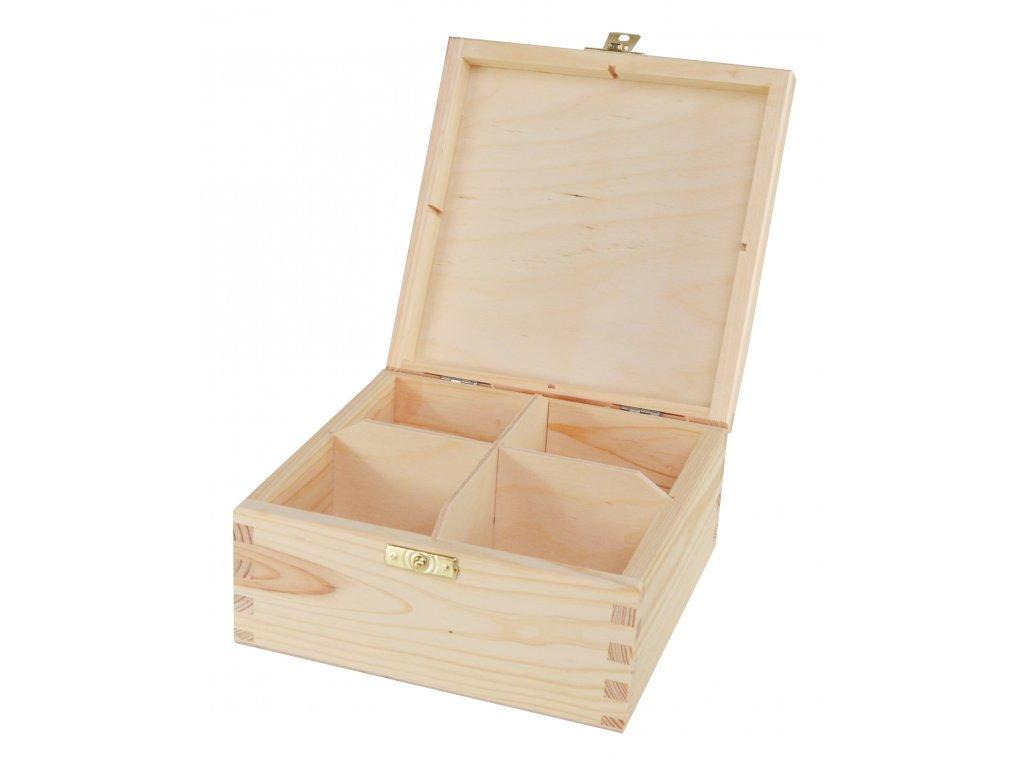 Dřevěná krabička na čaj s čtyřmi přihrádkami a zapínáním