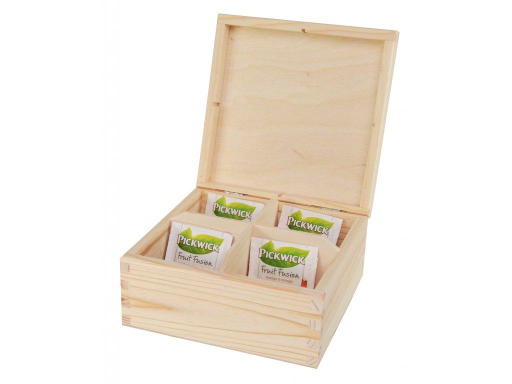 Dřevěná krabička na čaj s čtyřmi přihrádkami