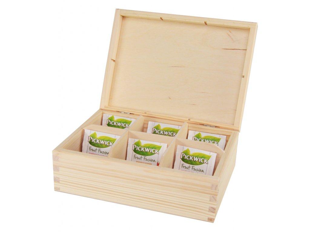 Dřevěná krabička na čaj s šesti přihrádkami