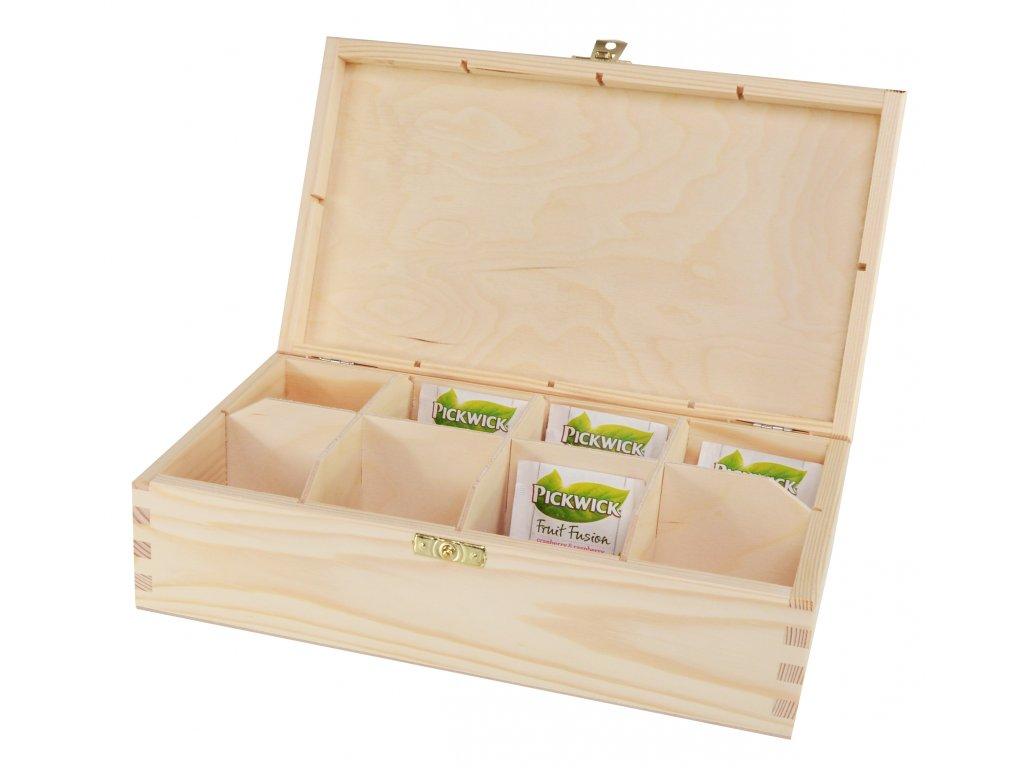 Dřevěná krabička na čaj s osmi přihrádkami a zapínáním