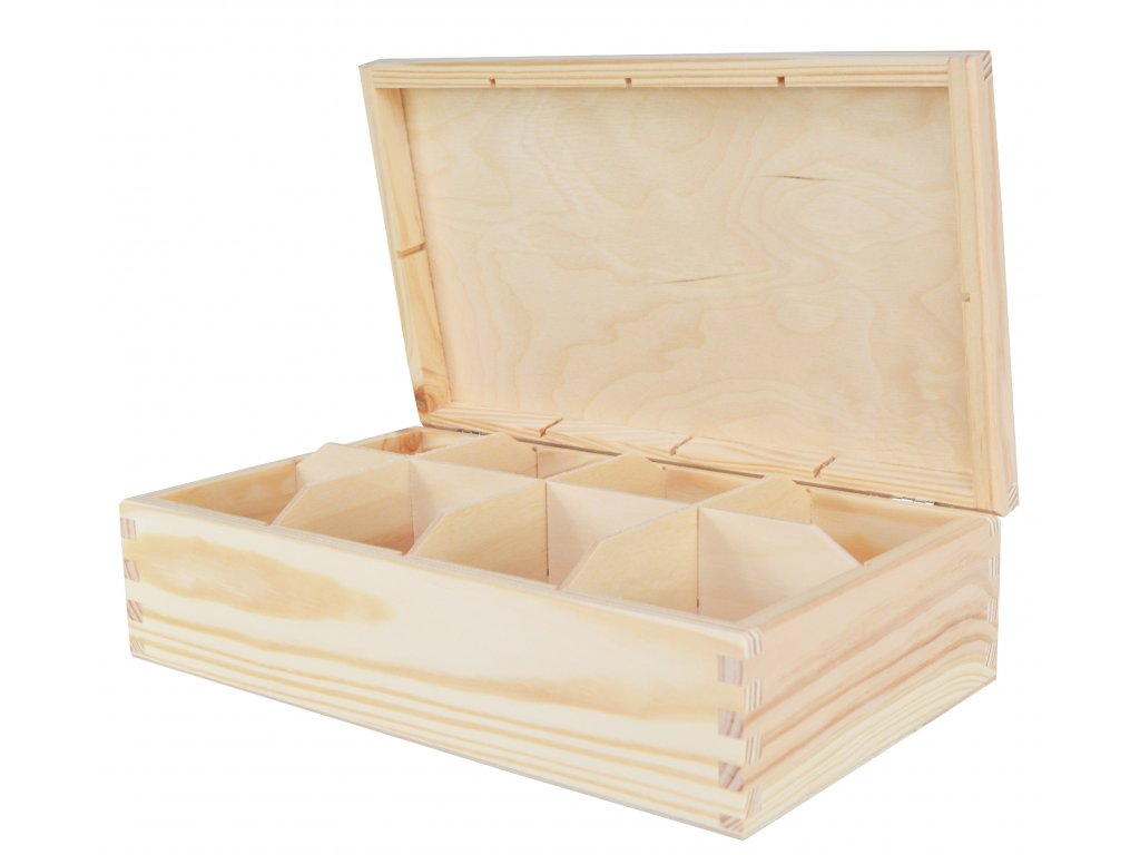 Dřevěná krabička na čaj s osmi přihrádkami