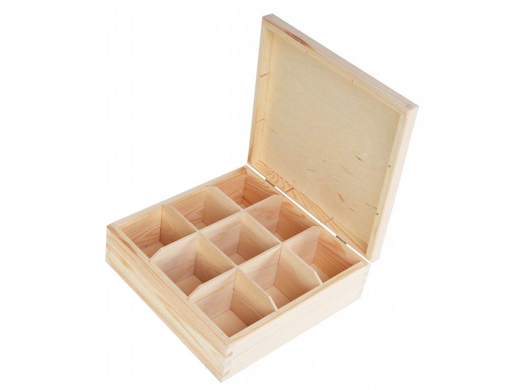 Dřevěná krabička na čaj s devíti přihrádkami