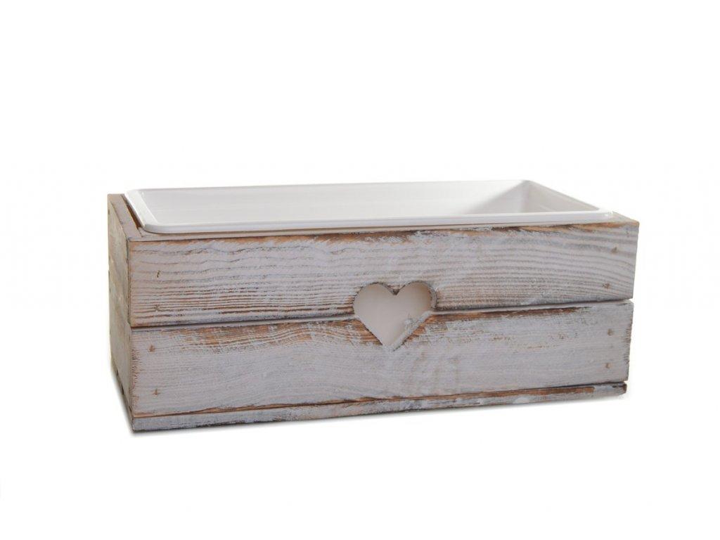 Dřevěný truhlík na květiny bílý - 50 cm