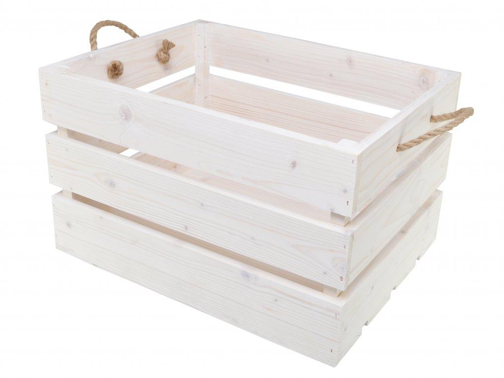 Dřevěná bedýnka s provazy 50x39x30 cm - jemně bílá