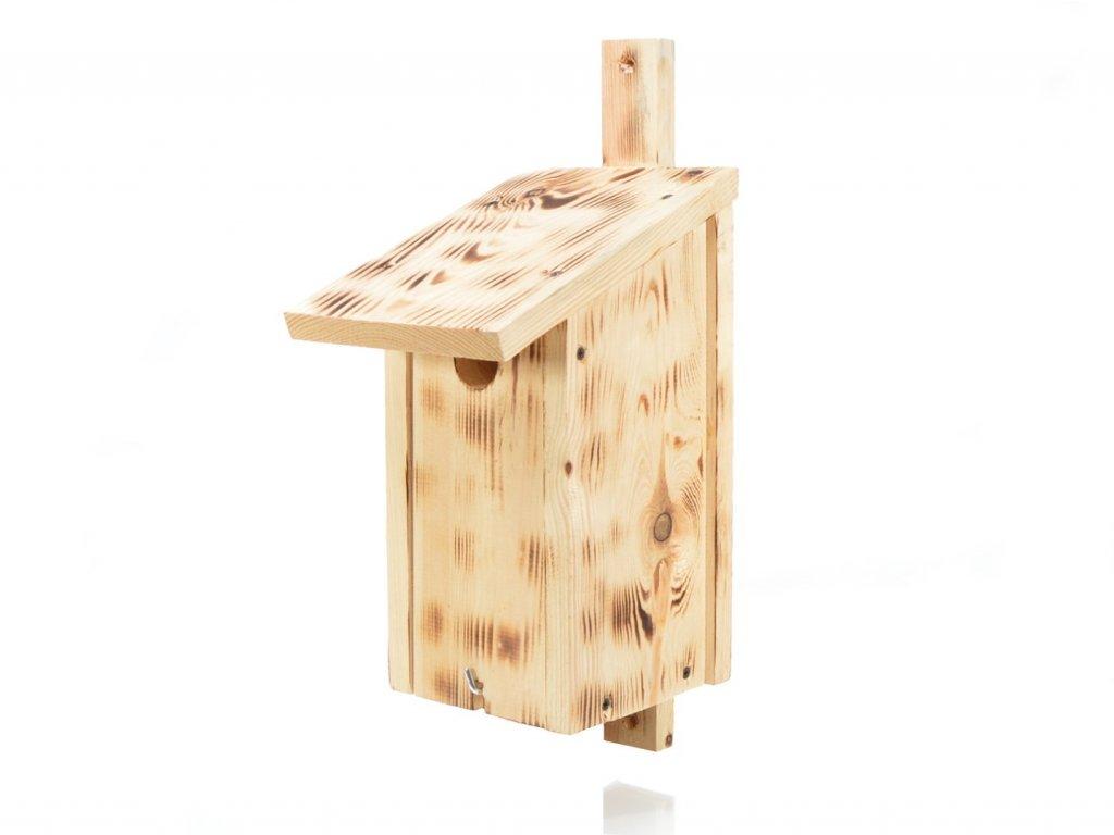 Dřevěná ptačí budka přírodní - opalovaná II
