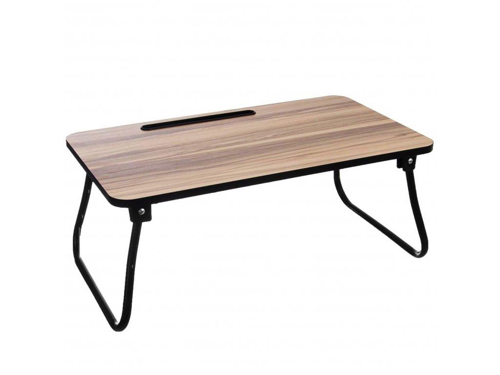 Dřevěný podnos do postele dřevo/kov se žlábkem na tablet