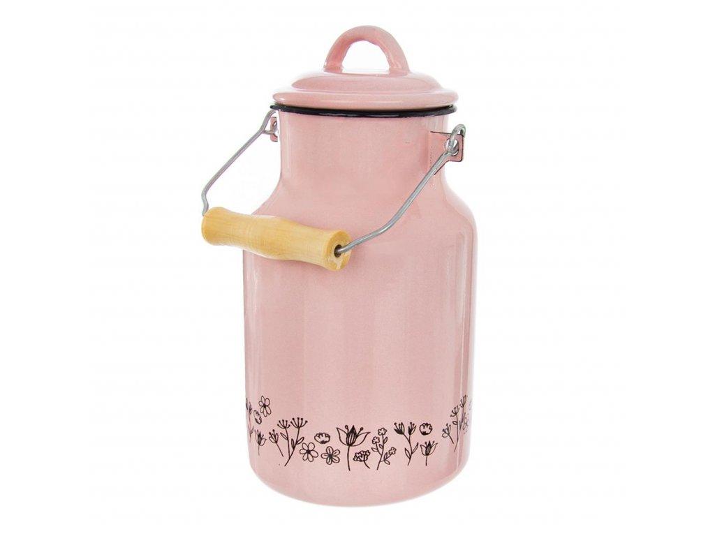 Konvice na mléko smaltovaná, 2 l - růžová louka