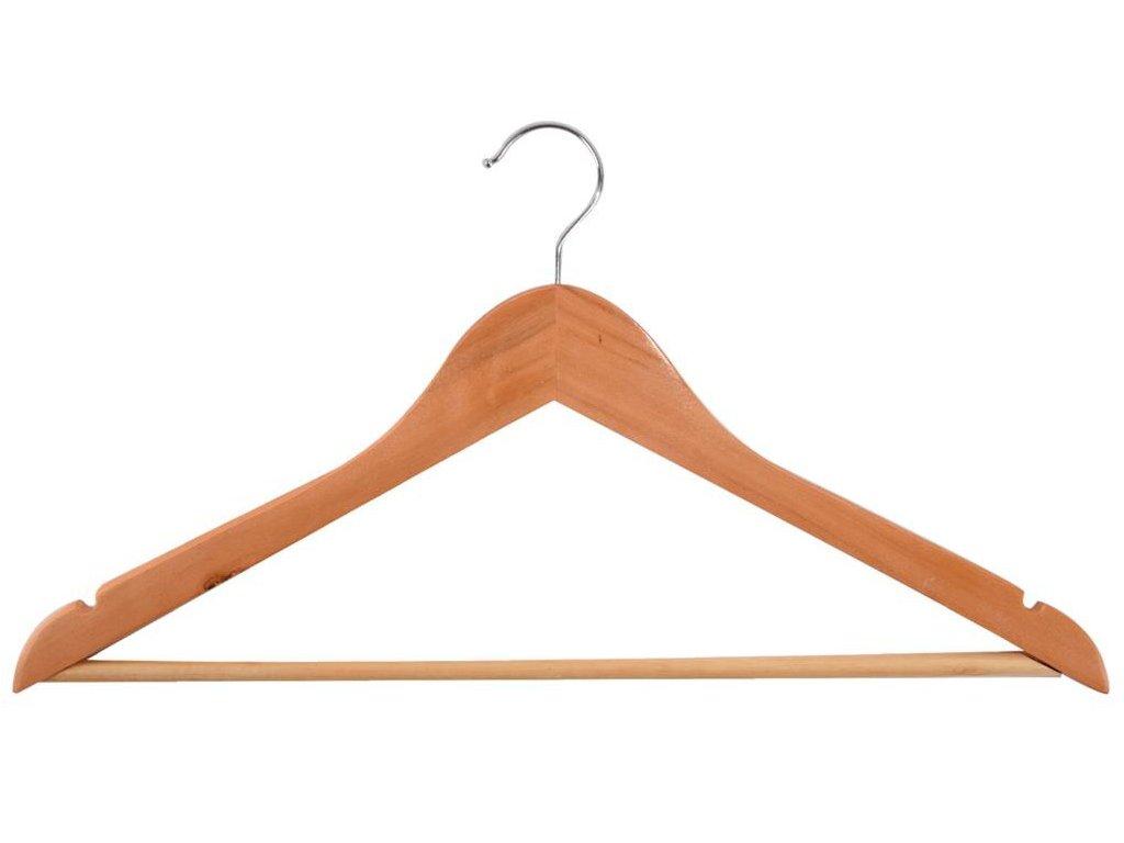 Dřevěné ramínko se spodní tyčí a háčkem na kalhoty - 2 ks