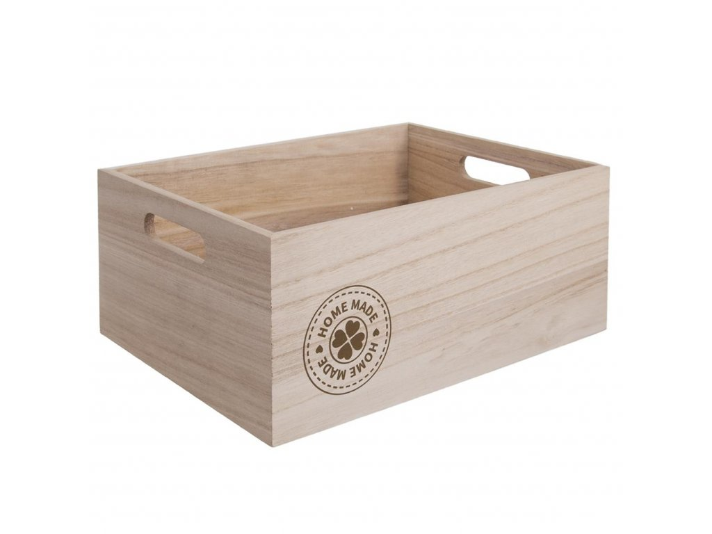 Dřevěná bedýnka HOMEMADE - 31 x 21 x 13 cm