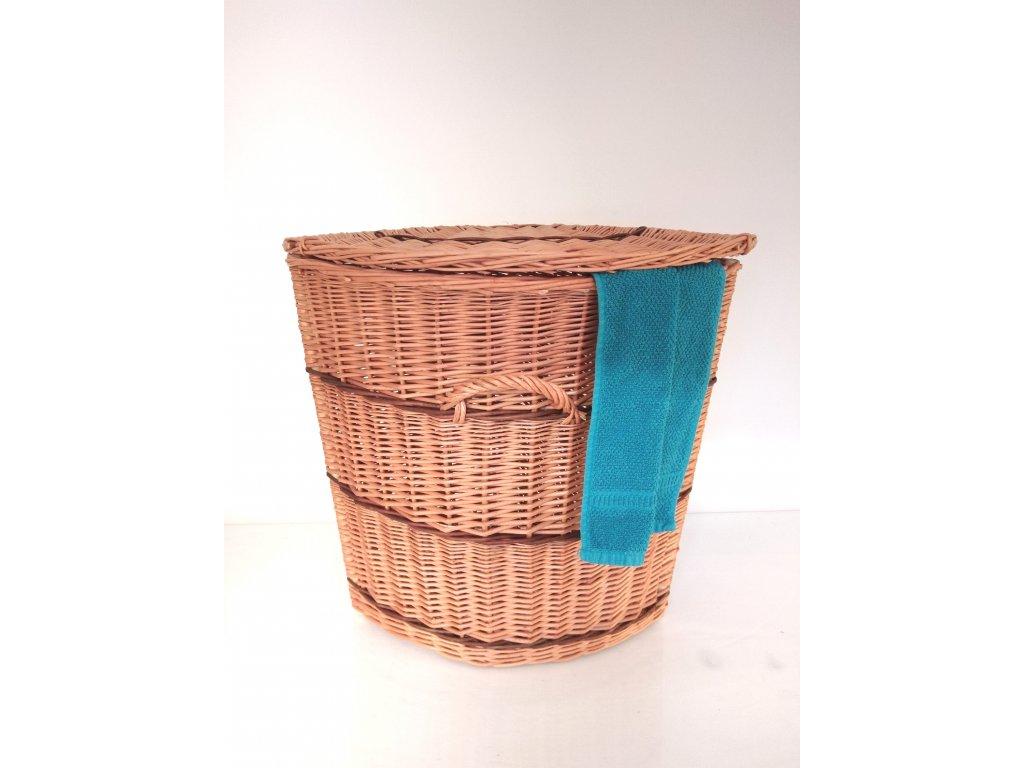 Proutěný koš na prádlo rohový s proužkem - v. 65 cm