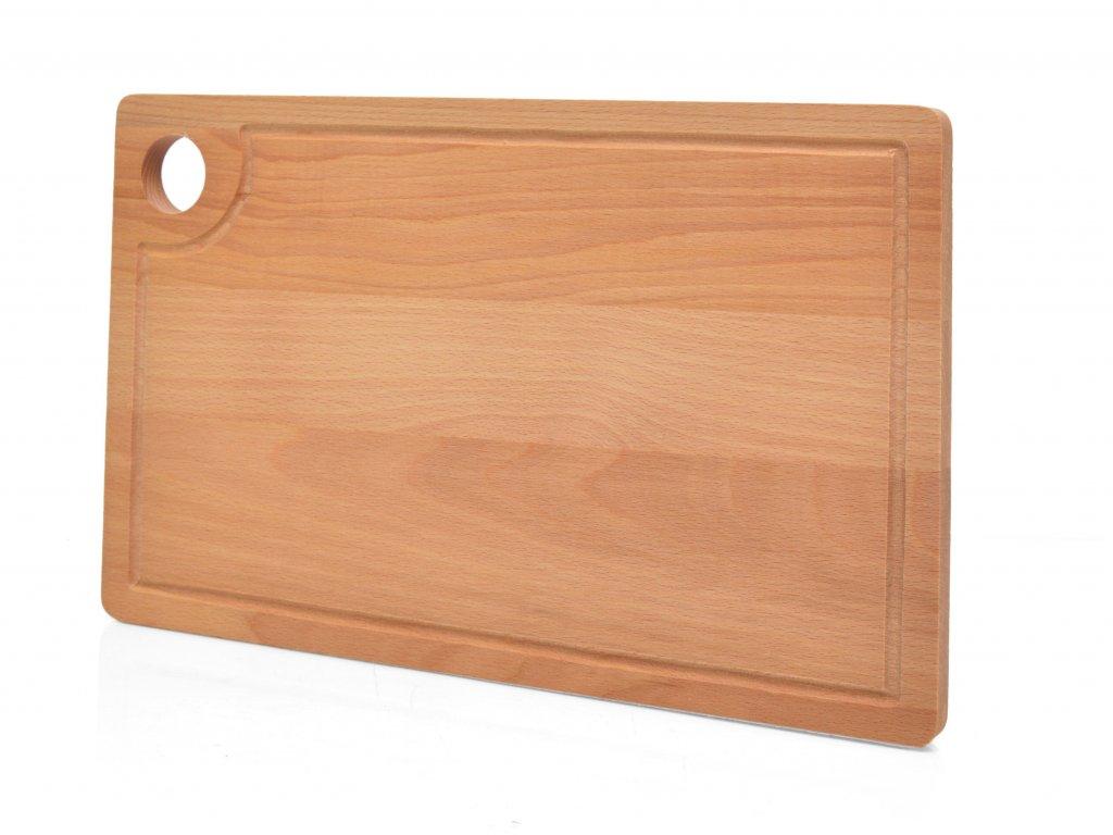 Buková krájecí deska - prkénko s otvorem a drážkou - 40 x 25 cm