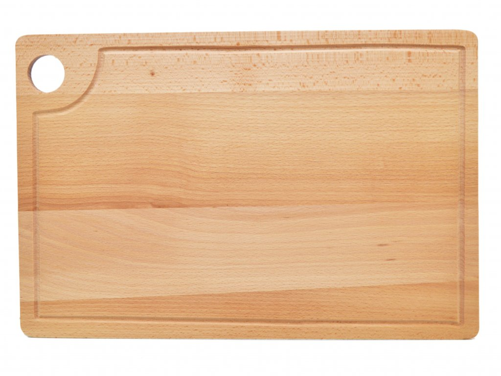 Buková krájecí deska - prkénko s otvorem a drážkou - 45 x 30 cm