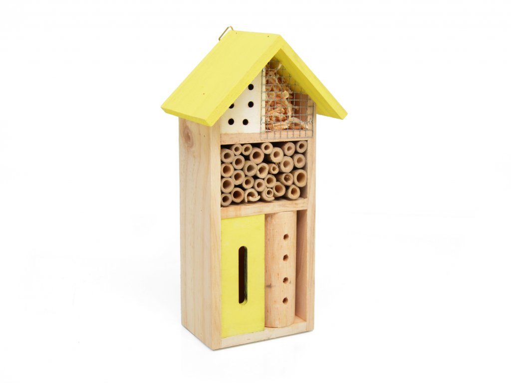 Domeček pro hmyz - hmyzí hotel, žlutá - 26 x 14 cm