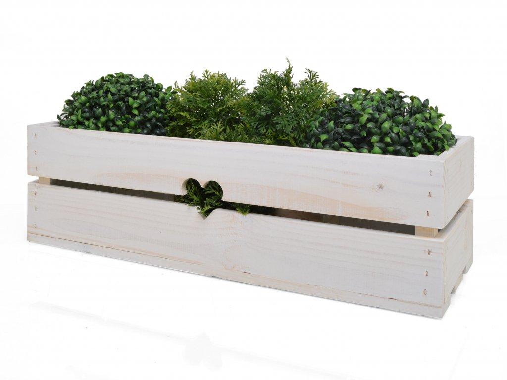 Dřevěný truhlík na květiny bílý - 53 cm II.