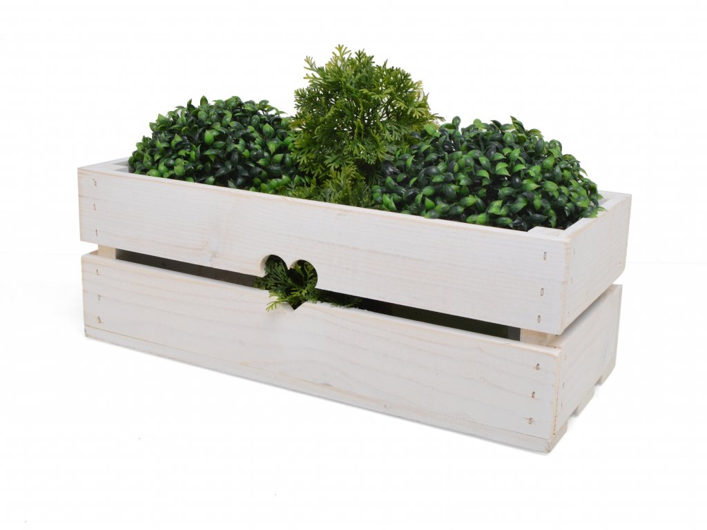 Dřevěný truhlík na květiny bílý - 43 cm II.