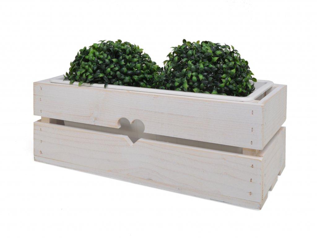 Dřevěný truhlík na květiny bílý s plastovým vkladem - 43 cm II.