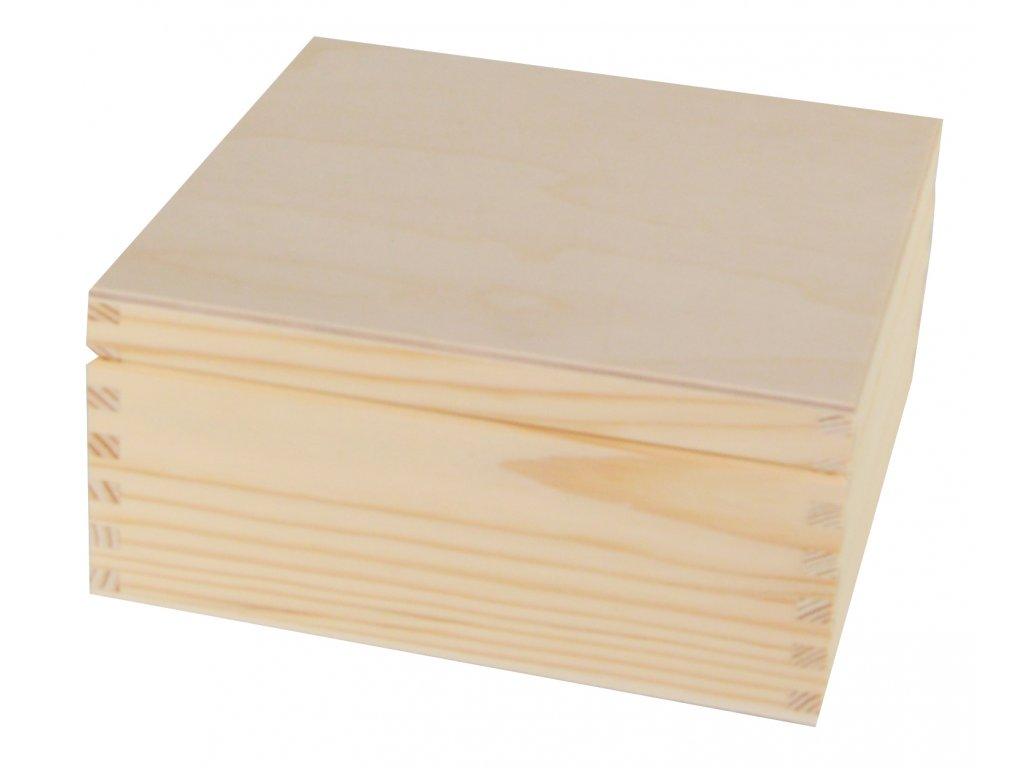 Dřevěná dárková krabička s víkem - 20 x 20 x 13 cm, přírodní