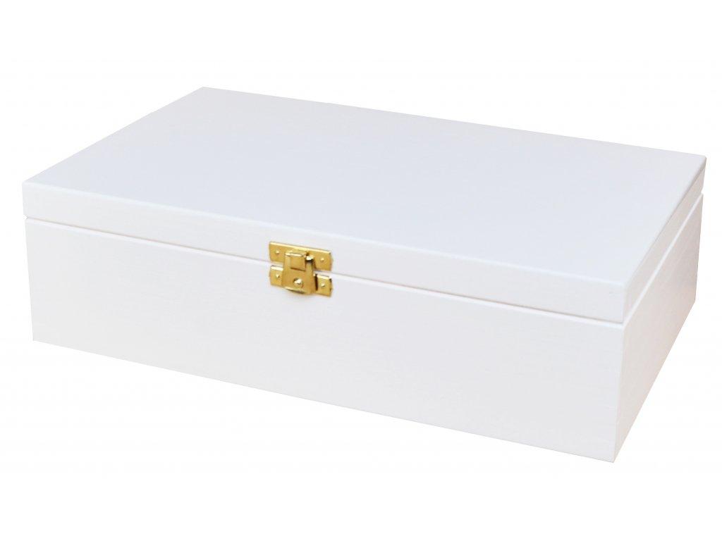 Bílá dřevěná krabička se zapínáním - 28 x 16 x 8 cm