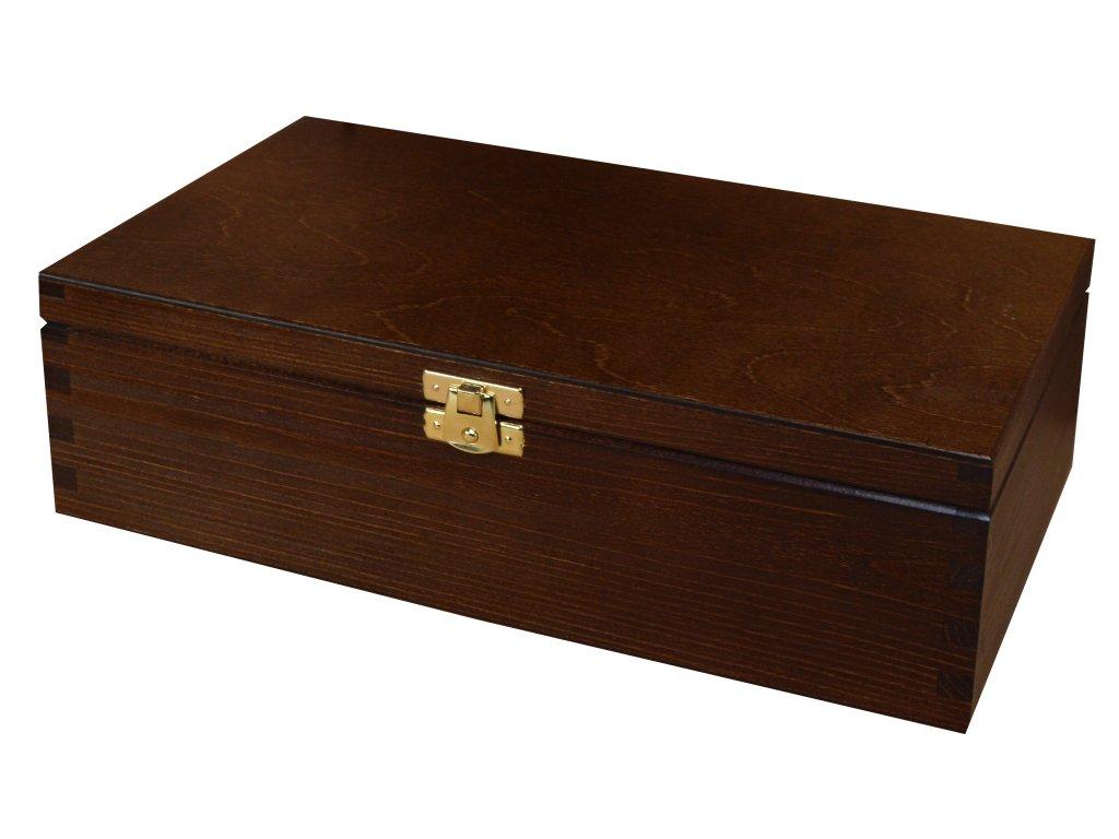 Dřevěná krabička s víkem a zapínáním - 28 x 16 x 8 cm, tmavě hnědá