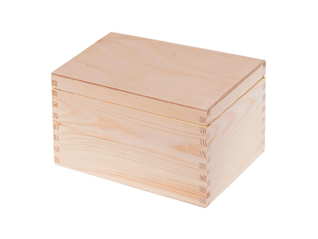 Dřevěná krabička s víkem nejen na šperky - 22 x 16 x 13,5 cm, přírodní