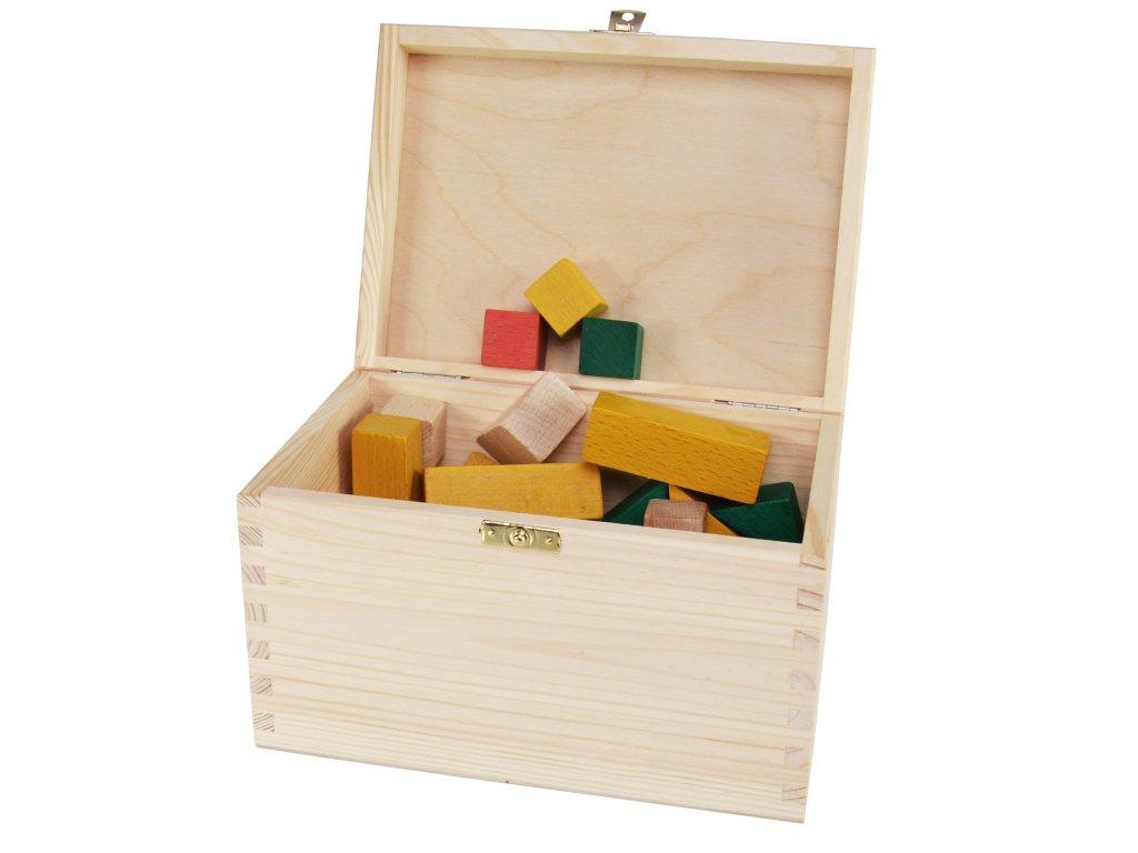 Dřevěná krabička s víkem a zapínáním - 22 x 16 x 13,5 cm, přírodní