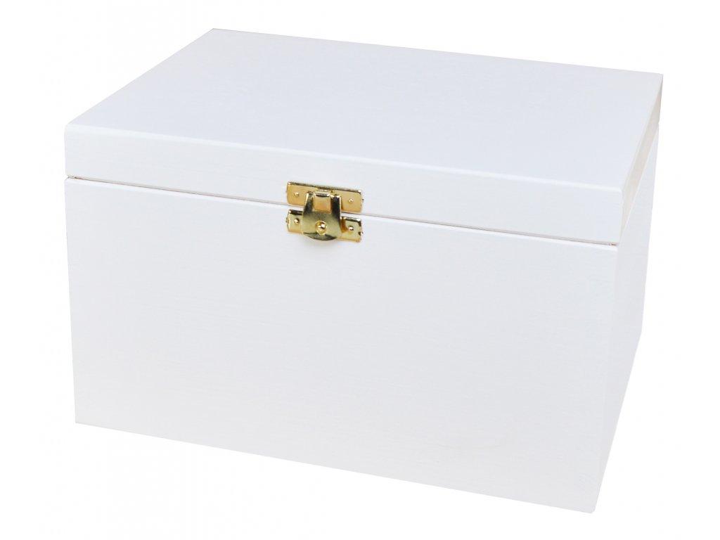 Bílá dřevěná krabička s víkem a zapínáním - 22 x 16 x 13,5 cm