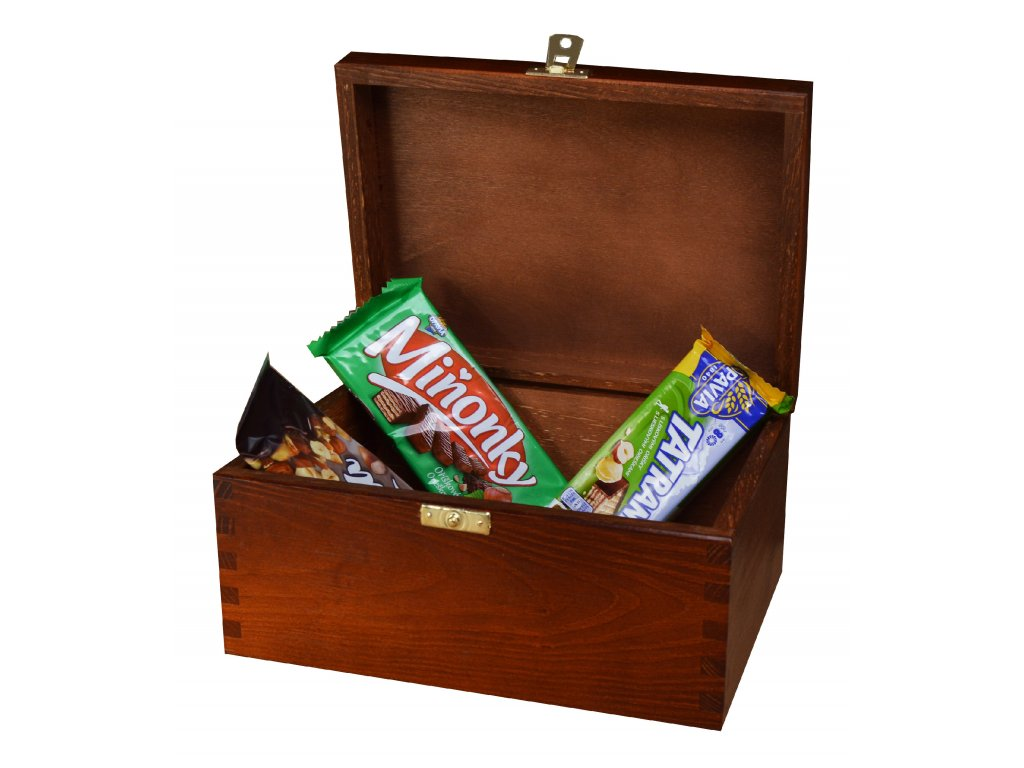 Dřevěná krabička s víkem a zapínáním - 22 x 16 x 13,5 cm, nátěr ořech